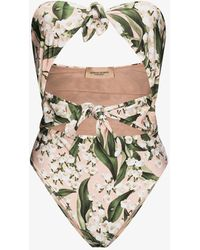 Adriana Degreas Muguet Floral Bandeau Swimsuit - Pink