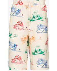 Gucci Disney X Mickey Mouse-print Linen Shorts - White