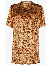 Olivia Von Halle Emeli Leopard-print Silk Pyjamas - Orange