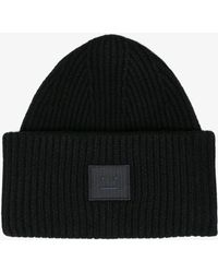 Acne Studios - Black Pansy Face Ribbed Wool Beanie - Lyst