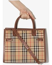 Burberry Beige Title Vintage Check Tote Bag - Brown