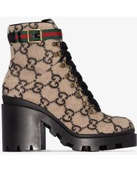 Gucci GG Wool Ankle Boot - Brown
