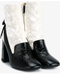Erdem Leather And Velvet Boots - Multicolor