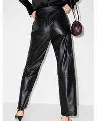 RTA Manon Wide Leg Leather Trousers - Black