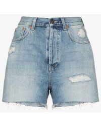 Gucci Embroidered Cat Denim Shorts - Blue