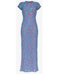 Eckhaus Latta Shrunk Velvet And Mesh Maxi Dress - Blue