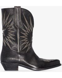 Golden Goose Deluxe Brand Wish Star Embroidered Leather Boots - Black