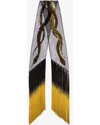 Rockins Gold Tasselled Sequin Snake Scarf - Black