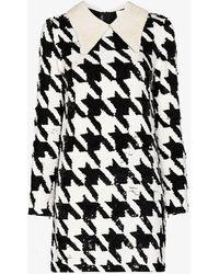Ashish Sequinned Houndstooth Mini Dress - Black