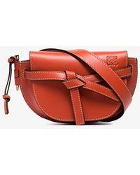 Loewe Womens Orange Gate Mini Leather Belt Bag