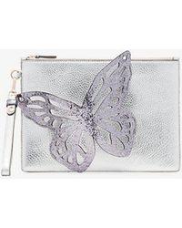 Sophia Webster - Silver Flossy Butterfly Leather Clutch - Lyst