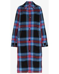 CHARLES JEFFREY LOVERBOY Tartan Cotton-blend Seersucker Overcoat - Blue