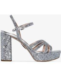 Miu Miu Silver Glitter Sandals - Metallic