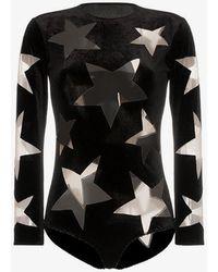 Alexia Hentsch X Browns Cutout Star Velvet Bodysuit - Black
