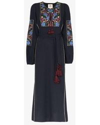 Figue Joni Floral Embroidery Belted Dress - Blue