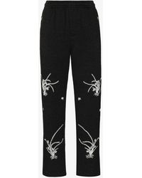 Bode Garden Embroidered Wool Track Trousers - Grey