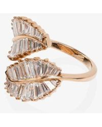 Anita Ko 18kt Rose Gold Diamond Palm Leaf Ring - Metallic