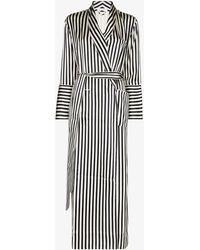 Olivia Von Halle Capability Striped Silk Dressing Robe - White