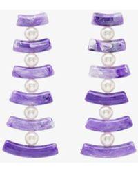 Valet Studio - Womens Purple Clotilde Pearl Drop Earrings - Lyst