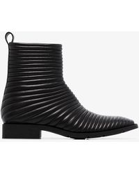 Balenciaga Black Leather Padded Biker Boots
