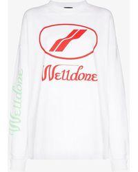 we11done Logo Print Oversized Long Sleeved T-shirt - White