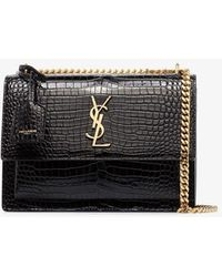 Saint Laurent Sunset Mock Croc Leather Shoulder Bag - Black