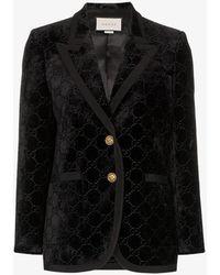 Gucci GG Supreme Pattern Blazer - Black