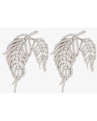APPLES & FIGS Sterling Silver Hermes Crystal Feather Earrings - Metallic