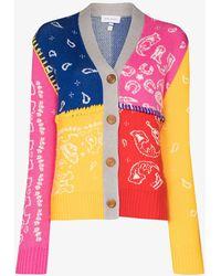 Mira Mikati Colour Block Paisley Pattern Cardigan - Grey
