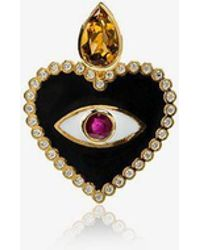 Holly Dyment - Ruby And Diamond Heart Evil Eye Pendant Necklace - Lyst