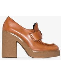 Prada Brown 115 Logo Plaque Platform Leather Loafers