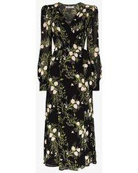 Reformation Susanna Floral-print Midi Wrap Dress - Black