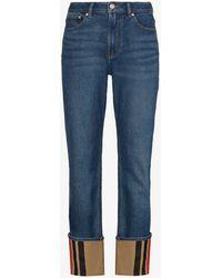 Burberry Marissa Icon Stripe Cuffed Jeans - Blue