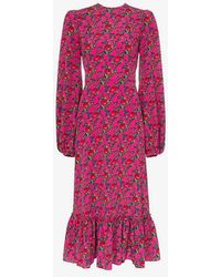 The Vampire's Wife - Belle Blouson Sleeve Floral Print Midi Dress - Lyst