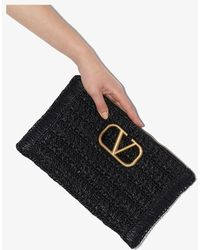 Valentino Vsling Raffia Clutch Bag - Black