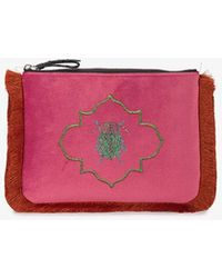 Mehry Mu - Mutopia Embroidered Velvet Fringed Pouch - Lyst
