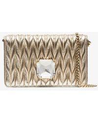 Miu Miu - Gold Matelasée Crystal Jewel Leather Cross Body Bag - Lyst