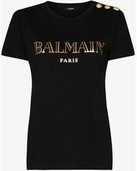 Balmain - Logo Print Cotton T-shirt - Lyst