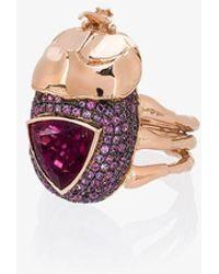 Daniela Villegas - 18k Rose Gold Medium Rhino Beetle Sapphire Ring - Lyst