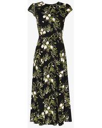 Reformation Gavin Floral-print Slit Dress - Black