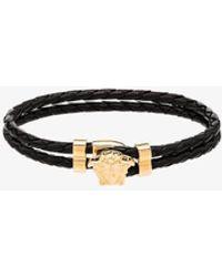 Versace Medusa Head-embellished Leather Bracelet - Black