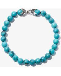 David Yurman Sterling Silver Spiritual Beads Turquoise Bracelet - Blue