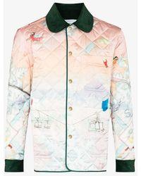 CASABLANCA Quilted Ski Sunset Print Bomber Jacket - Pink