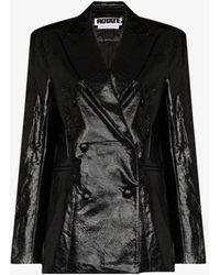 ROTATE BIRGER CHRISTENSEN Fox Faux Leather Blazer - Black