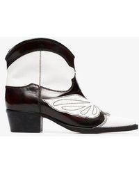 Ganni - Black And White Meg 45 Leather Cowboy Boots - Lyst