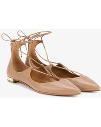 Aquazzura - Nude Christy Leather Ballet Flats - Lyst