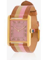 La Californienne - Flamingo Gilt Sunset Cartier Tank Leather Watch - Lyst