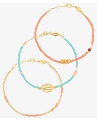Anni Lu Plated Wave Chaser Bracelet Set - Metallic