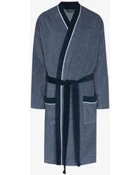 Schiesser Striped Pocket Detail Robe - Blue