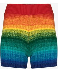 The Elder Statesman Morph Striped Cashmere Cycling Shorts - Red